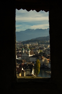 Lucerne City Scape seen from Musegg Wall